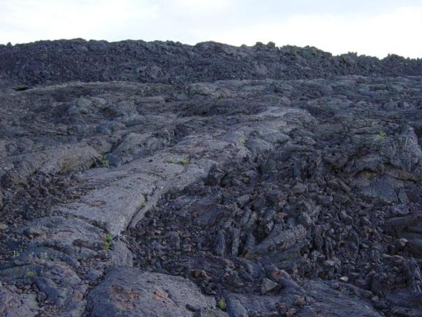 Aa next to pahoehoe lava at Craters of the Moon