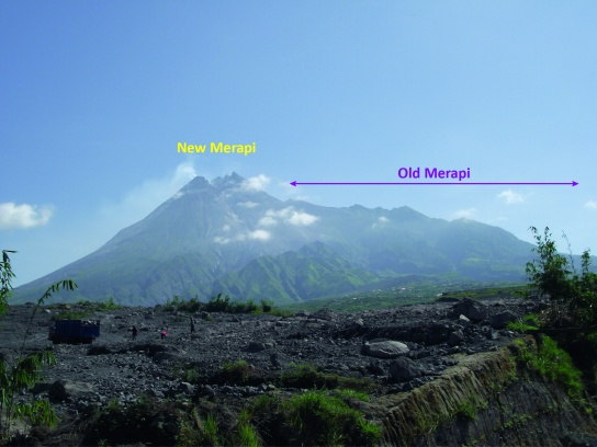 Merapi's complex edifice with the younger active cone of 'New Merapi' and the remnants of 'Old Merapi'. Photo taken in 2011 (K. Preece)