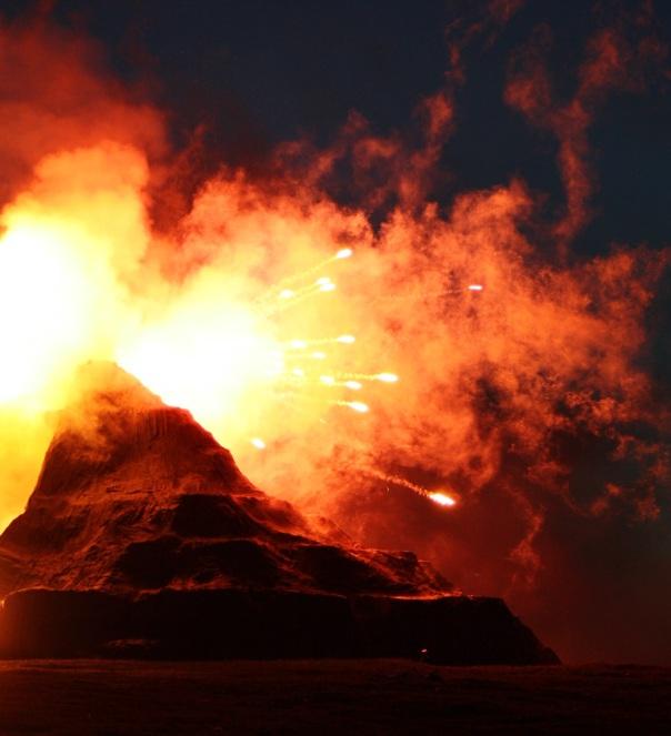 Denser fireworks glide through the air like ballistics. Photo Credit: Tahmeena Aslam